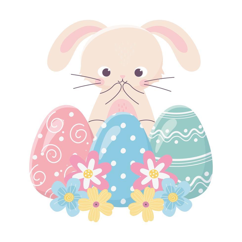 joyeux jour de pâques, mignon lapin oeufs délicats fleurs vecteur