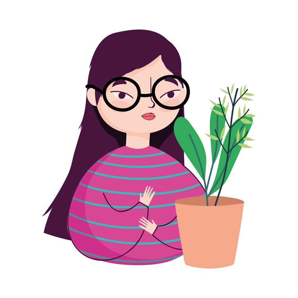 jeune femme avec des lunettes et décoration de plantes en pot vecteur