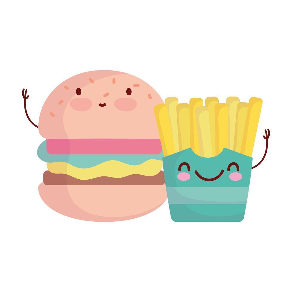burger et frites menu caractère dessin animé nourriture mignon vecteur