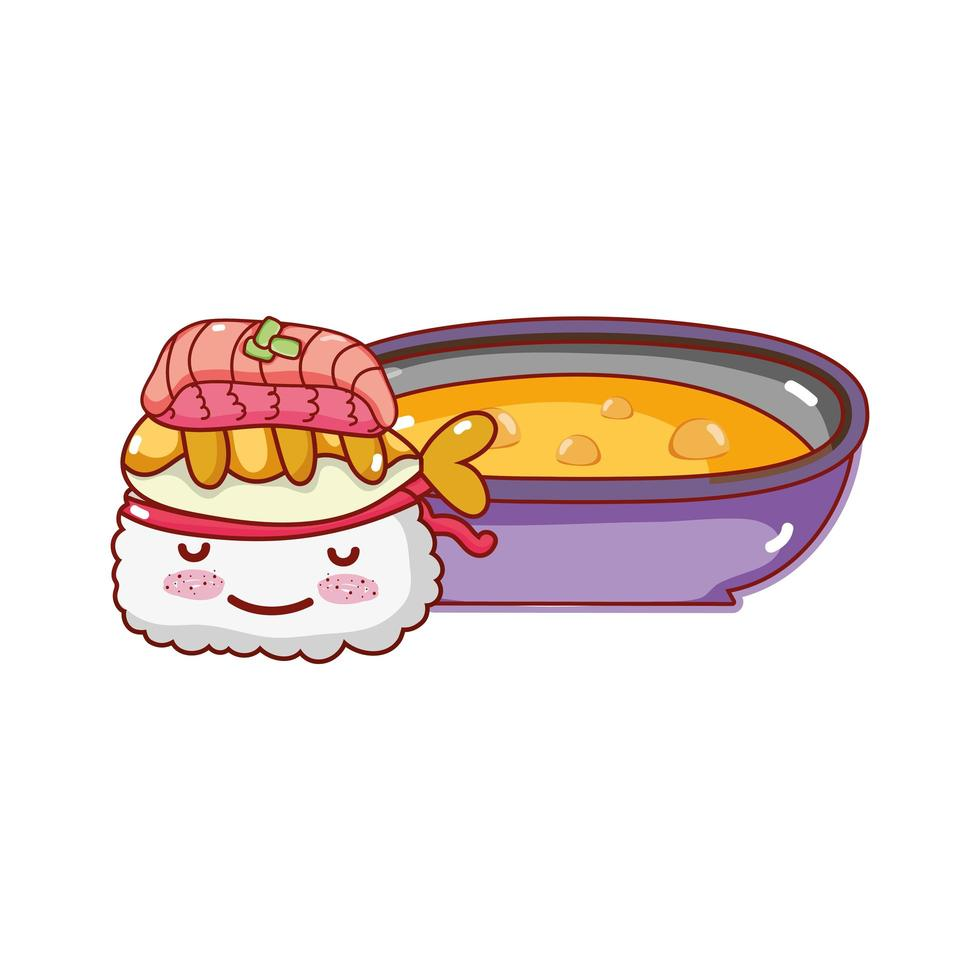 kawaii sushi tempura poisson et soupe nourriture dessin animé japonais, sushi et rouleaux vecteur