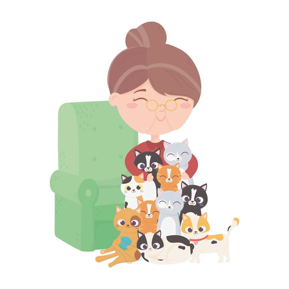 les chats me rendent heureux, vieille femme avec divers chatons dans le canapé vecteur