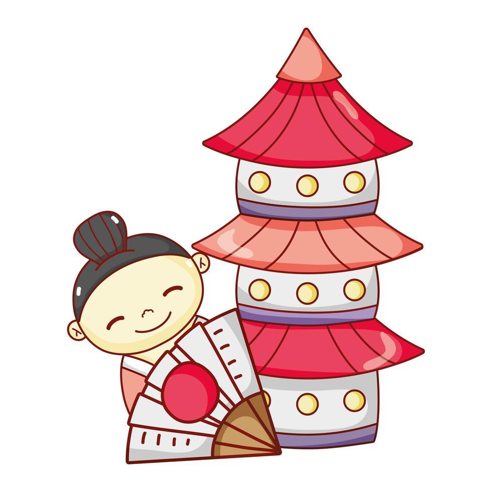 petit dessin animé japonais geisha et pagode, sushi et rouleaux vecteur