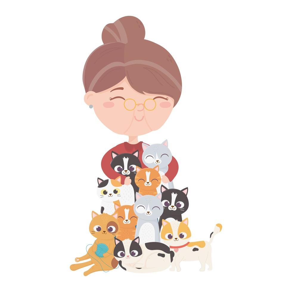 les chats me rendent heureux, la vieille femme embrasse de nombreux chats vecteur