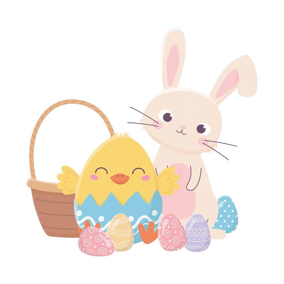bonne fête de pâques, lapin poulet en coquille d'oeuf panier oeufs décoration vecteur