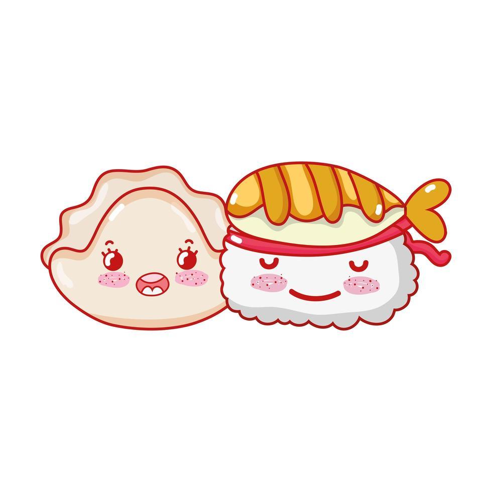 kawaii sushi poisson et biscuit nourriture dessin animé japonais, sushi et rouleaux vecteur