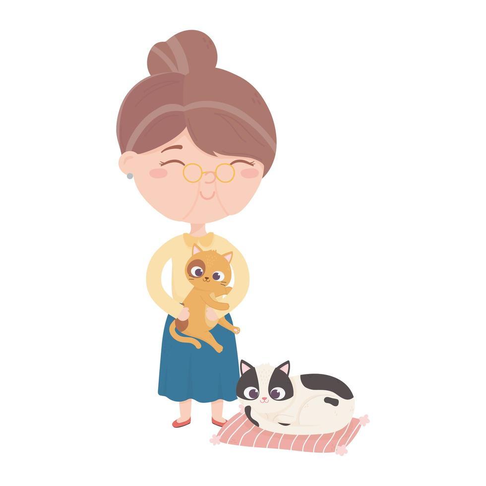 les chats me rendent heureux, vieille femme portant un chat et un chaton dans un tapis vecteur