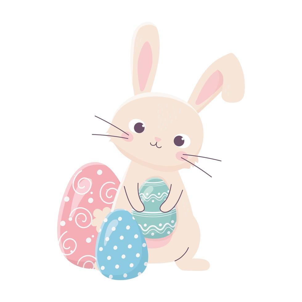 joyeuses pâques lapin mignon tient la célébration de décoration d'oeuf vecteur