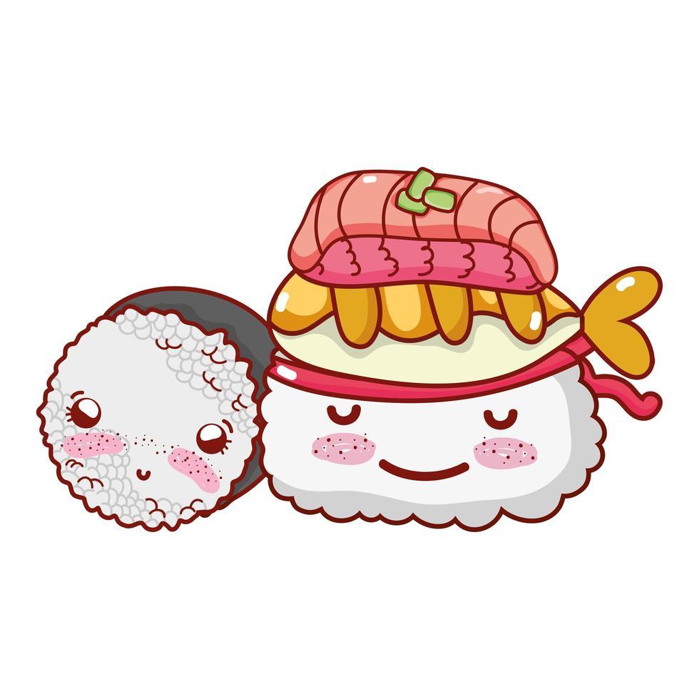 kawaii riz sushi poisson nourriture dessin animé japonais, sushi et rouleaux vecteur