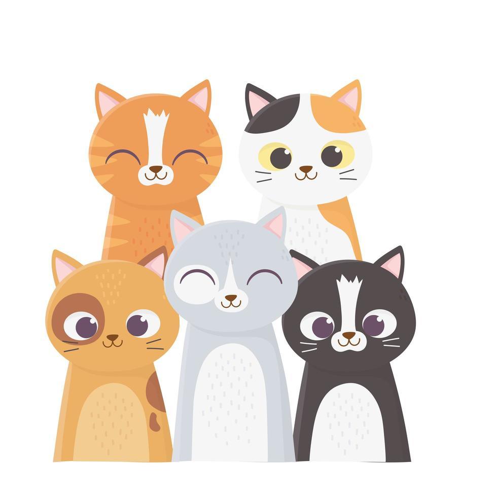 les chats me rendent heureux, de nombreux chats vecteur