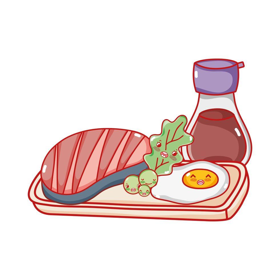 Saké de poisson kawaii et nourriture aux œufs frits caricature japonaise, sushi et rouleaux vecteur