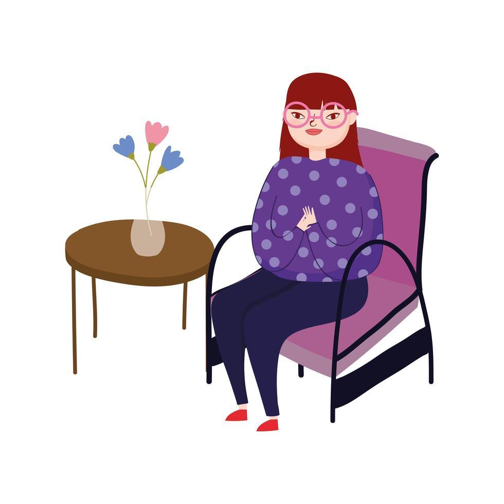 jeune femme, porter, lunettes, séance chaise vecteur