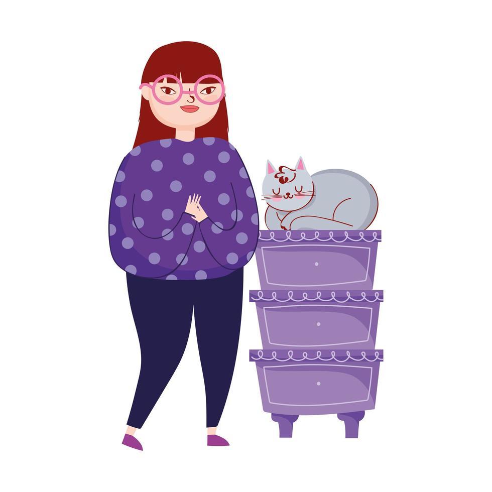 jeune femme, à, chat, dans, meubles tiroirs vecteur