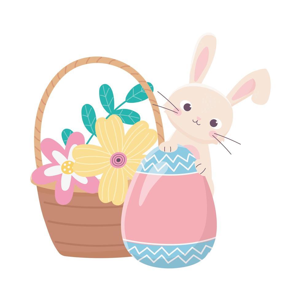 Joyeuses Pâques, lapin avec des fleurs d'oeufs peints dans la décoration de panier vecteur