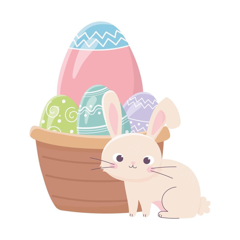 joyeuses pâques, panier de lapin avec célébration d'oeufs décoratifs vecteur
