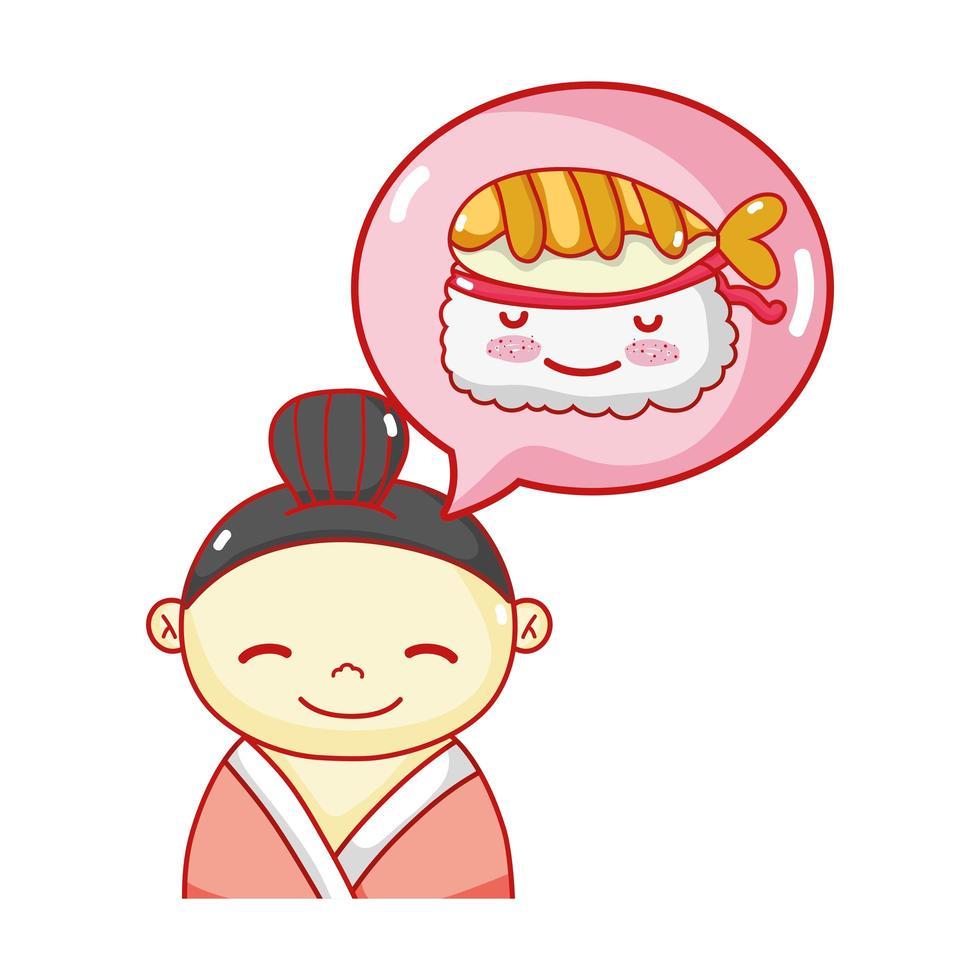 geisha sushi nourriture kawaii dessin animé japonais, sushi et rouleaux vecteur