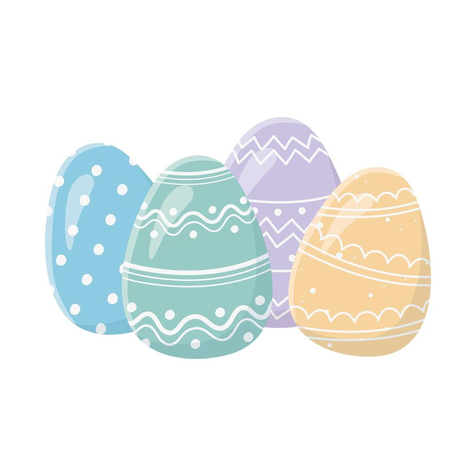 joyeux jour de pâques carte de voeux oeufs colorés décoratifs vecteur