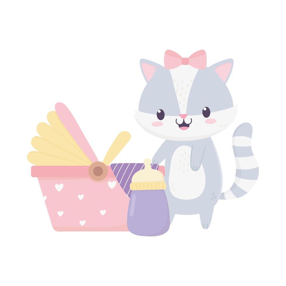 bébé douche raton laveur poussette bouteille de lait décoration de dessin animé vecteur