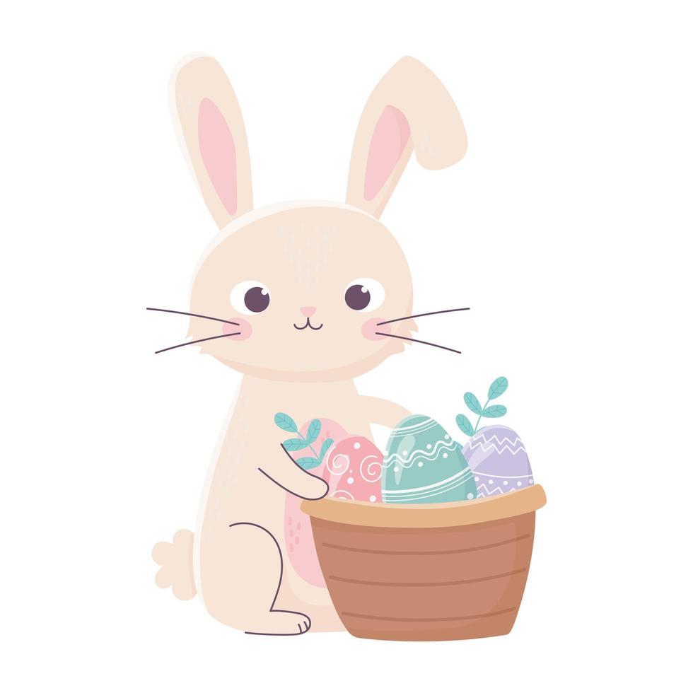 joyeux jour de pâques, lapin avec panier oeufs feuilles dessin animé vecteur