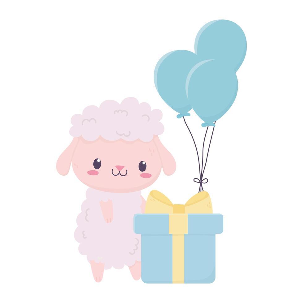 joyeux anniversaire mouton mignon avec dessin animé animal cadeau et ballons vecteur