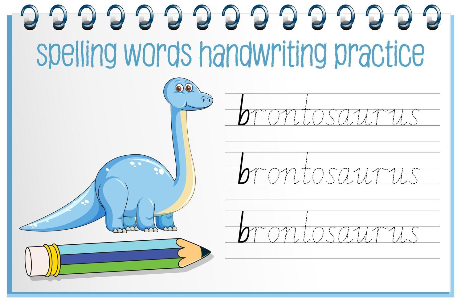 Orthographe des mots feuille de travail de l'écriture manuscrite des dinosaures vecteur