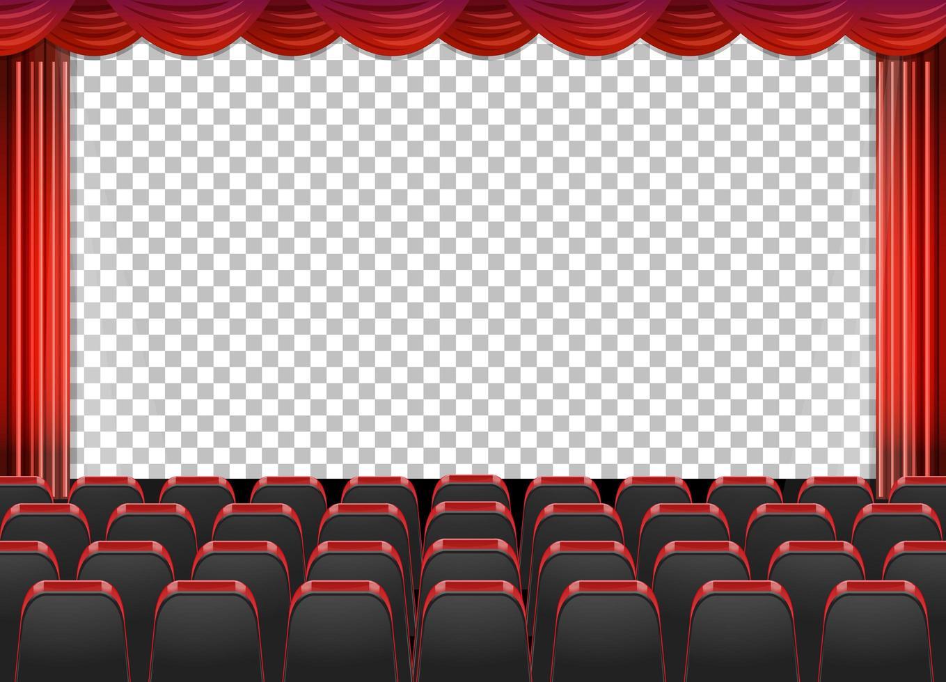 rideaux rouges dans le théâtre avec fond transparent vecteur