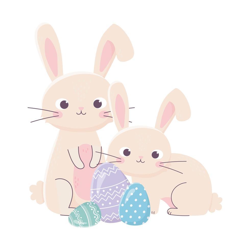 bonne fête de pâques, lapins et oeufs décoratifs nature vecteur