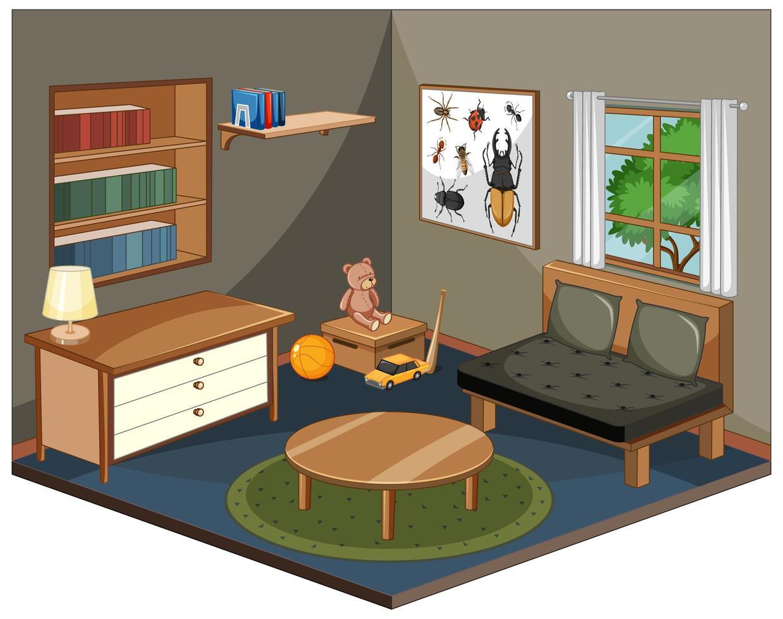 salon avec mobilier isométrique vecteur