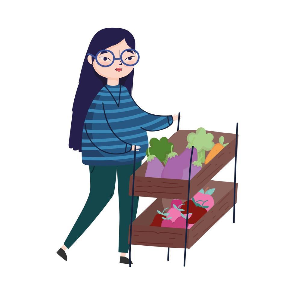 jeune femme, à, légumes, dans, rayon, marché, isolé, image vecteur