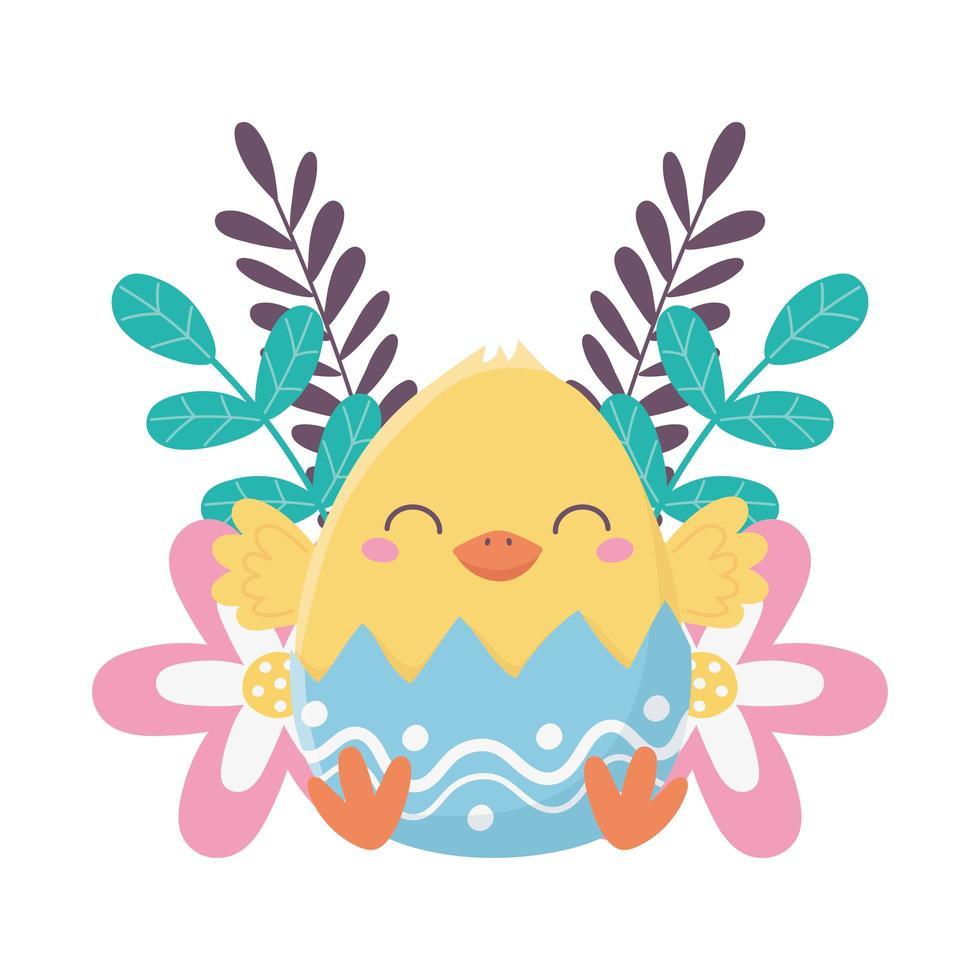 bonne fête de pâques, poulet en décoration de fleurs coquille vecteur
