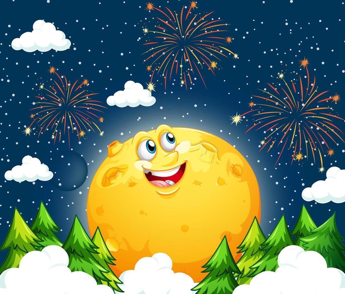 lune souriante dans le ciel la nuit avec de nombreux feux d'artifice vecteur