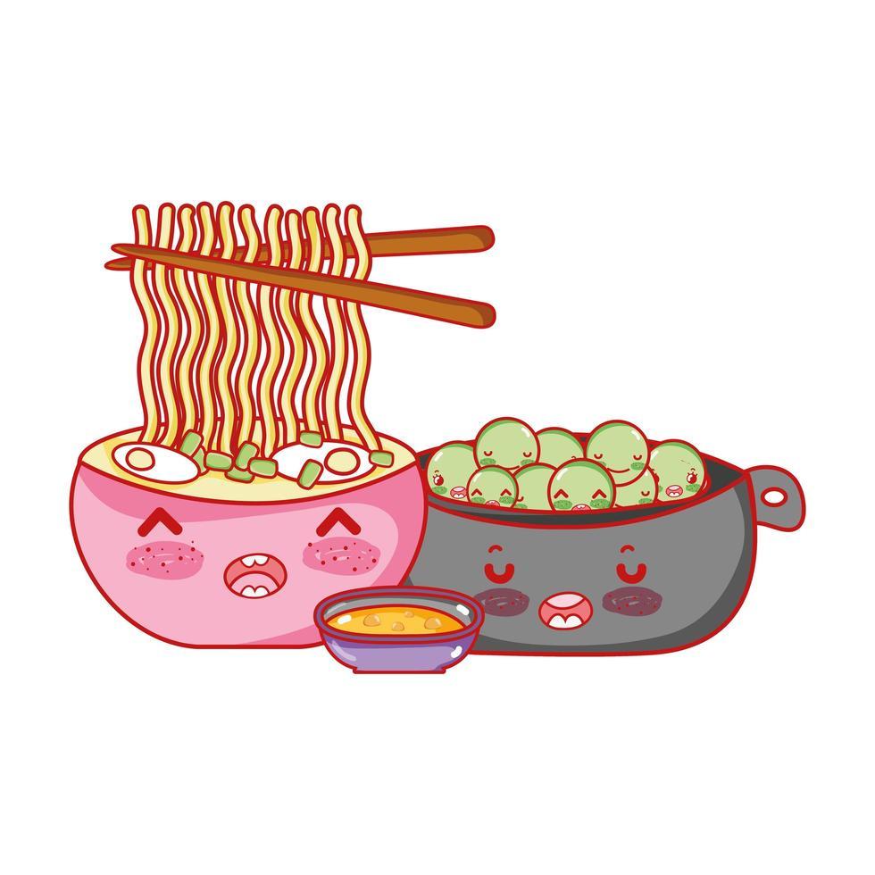 kawaii ramen nouilles pois et nourriture dessin animé japonais, sushi et rouleaux vecteur