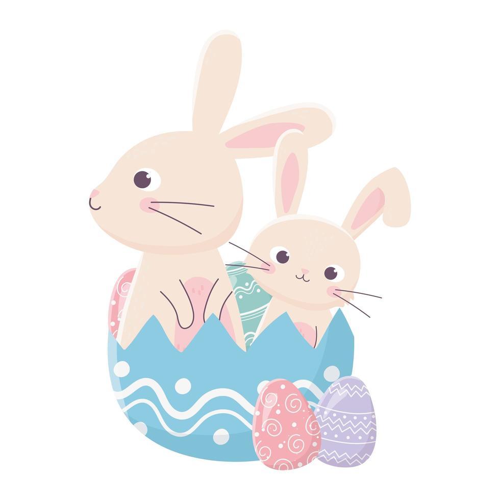 joyeuses fêtes de pâques, jolis lapins dans la décoration d'oeufs en coquille vecteur