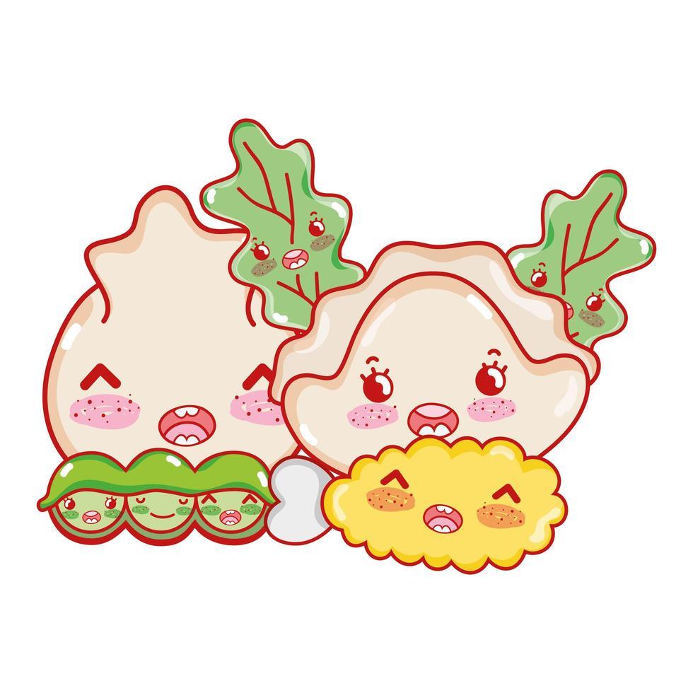 boulette de pois tempura kawaii et nourriture caricature japonaise, sushi et petits pains vecteur