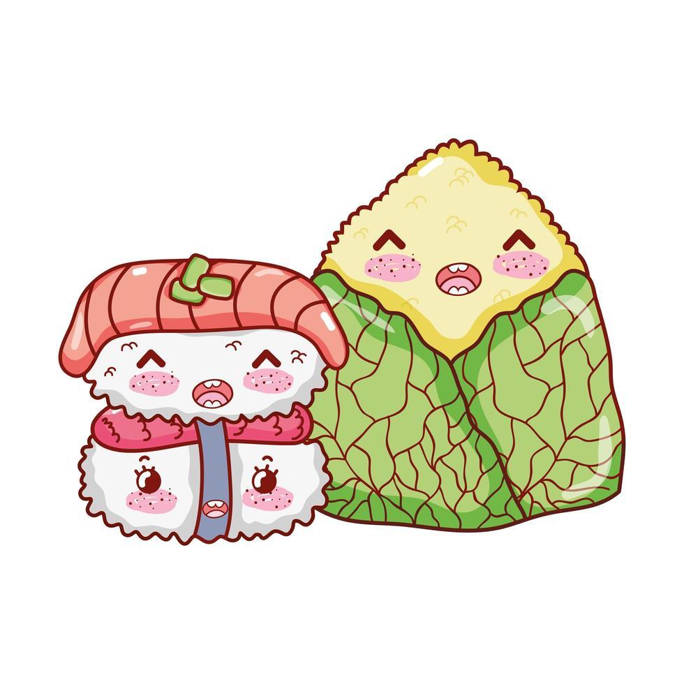 gâteau de riz kawaii nourriture dessin animé japonais, sushi et rouleaux vecteur