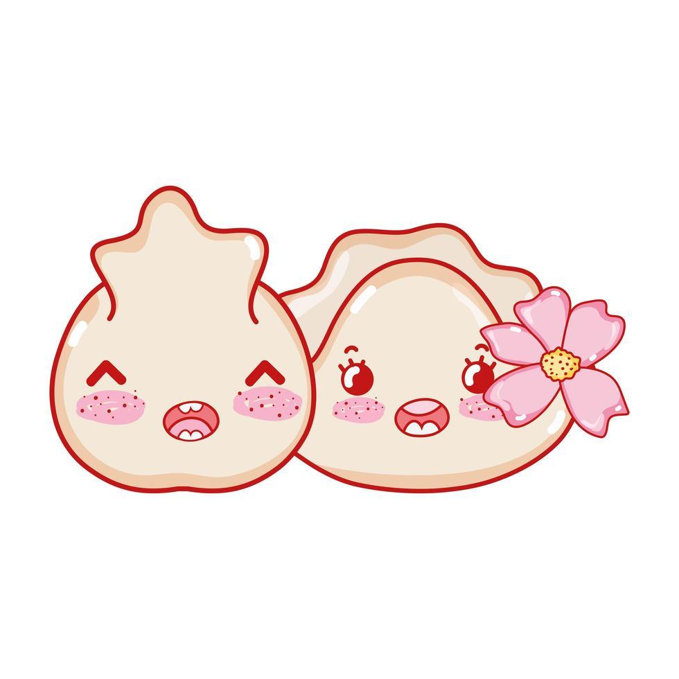 boulette kawaii et biscuit avec dessin animé japonais de nourriture pour fleurs, sushi et rouleaux vecteur