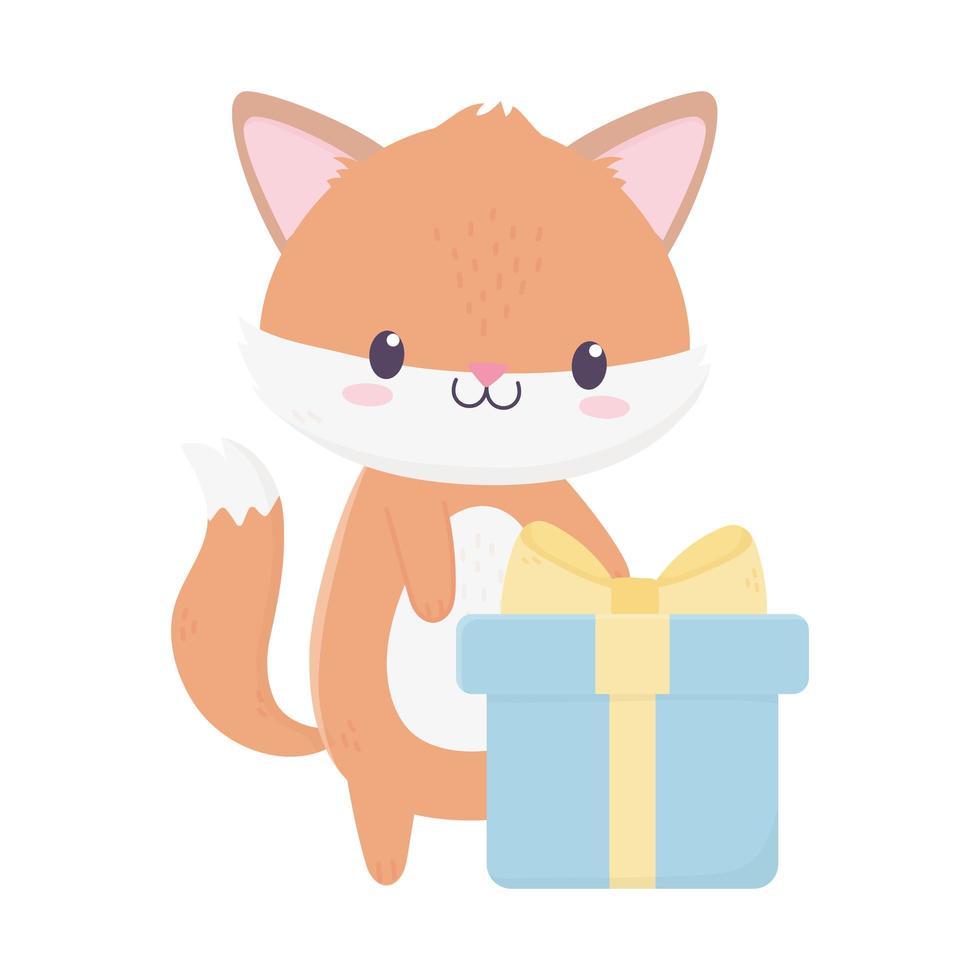joyeux anniversaire renard avec carte de décoration de célébration cadeau vecteur