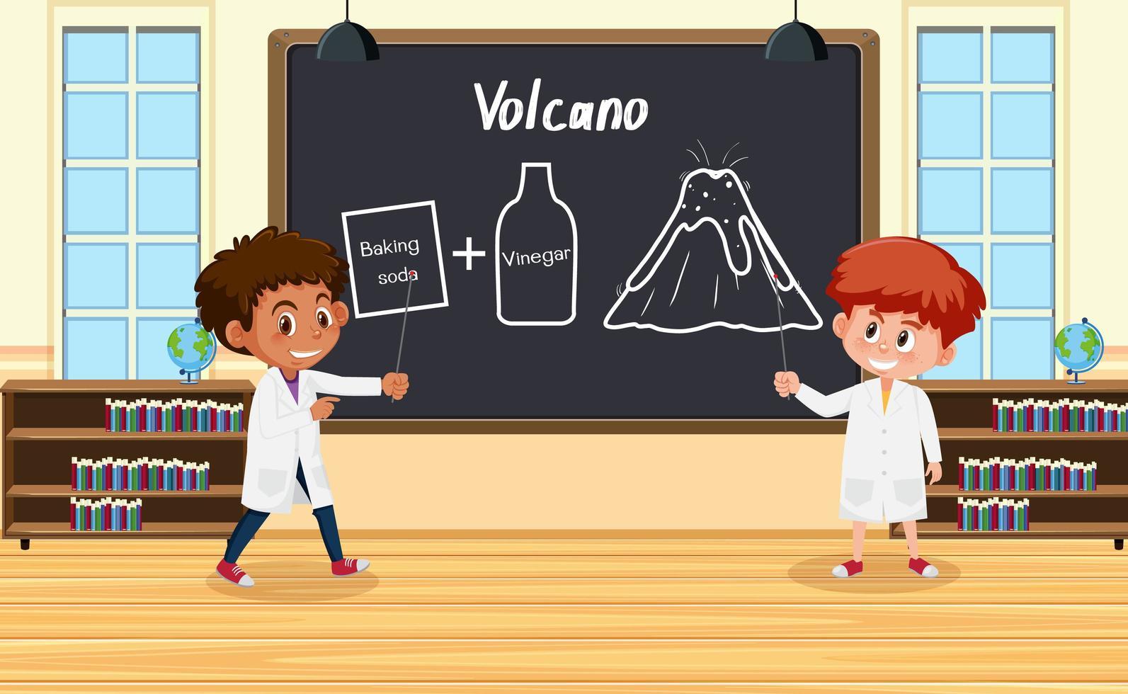 Jeune scientifique expliquant l'expérience du volcan devant un tableau en laboratoire vecteur