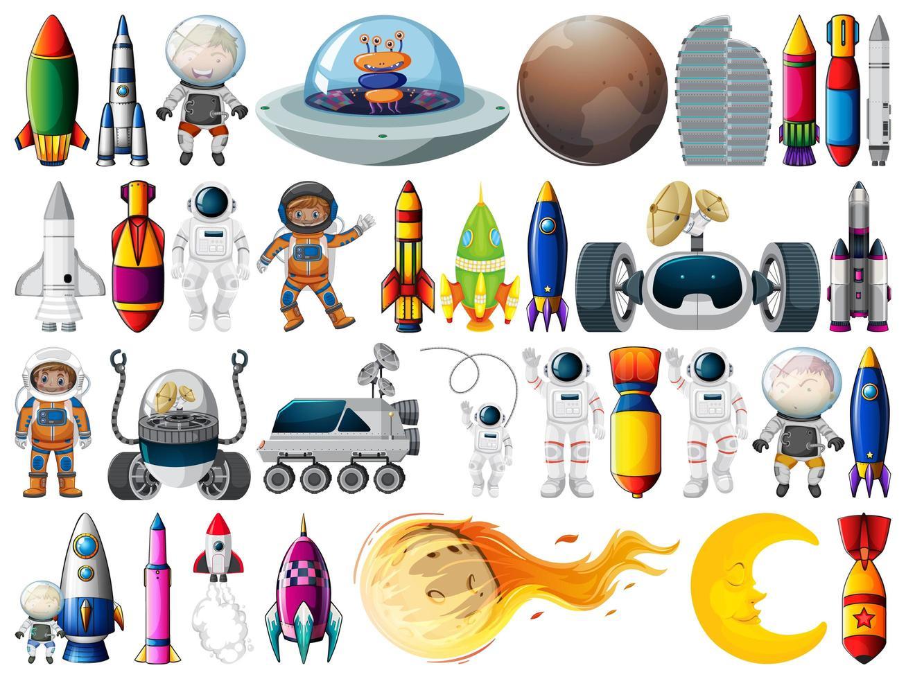 ensemble d'objets spatiaux et d'éléments isolés sur fond blanc vecteur