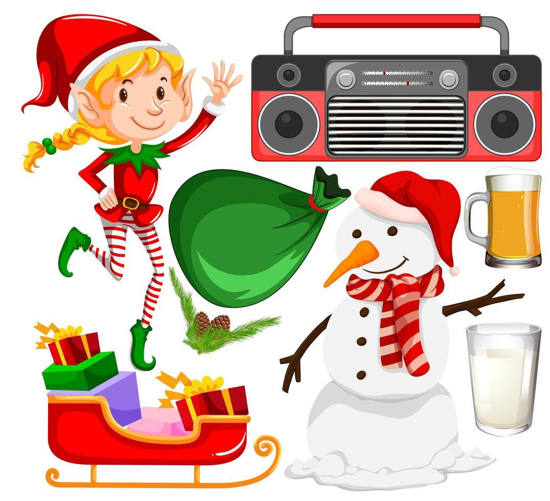 ensemble d'objets de Noël isolé sur fond blanc vecteur