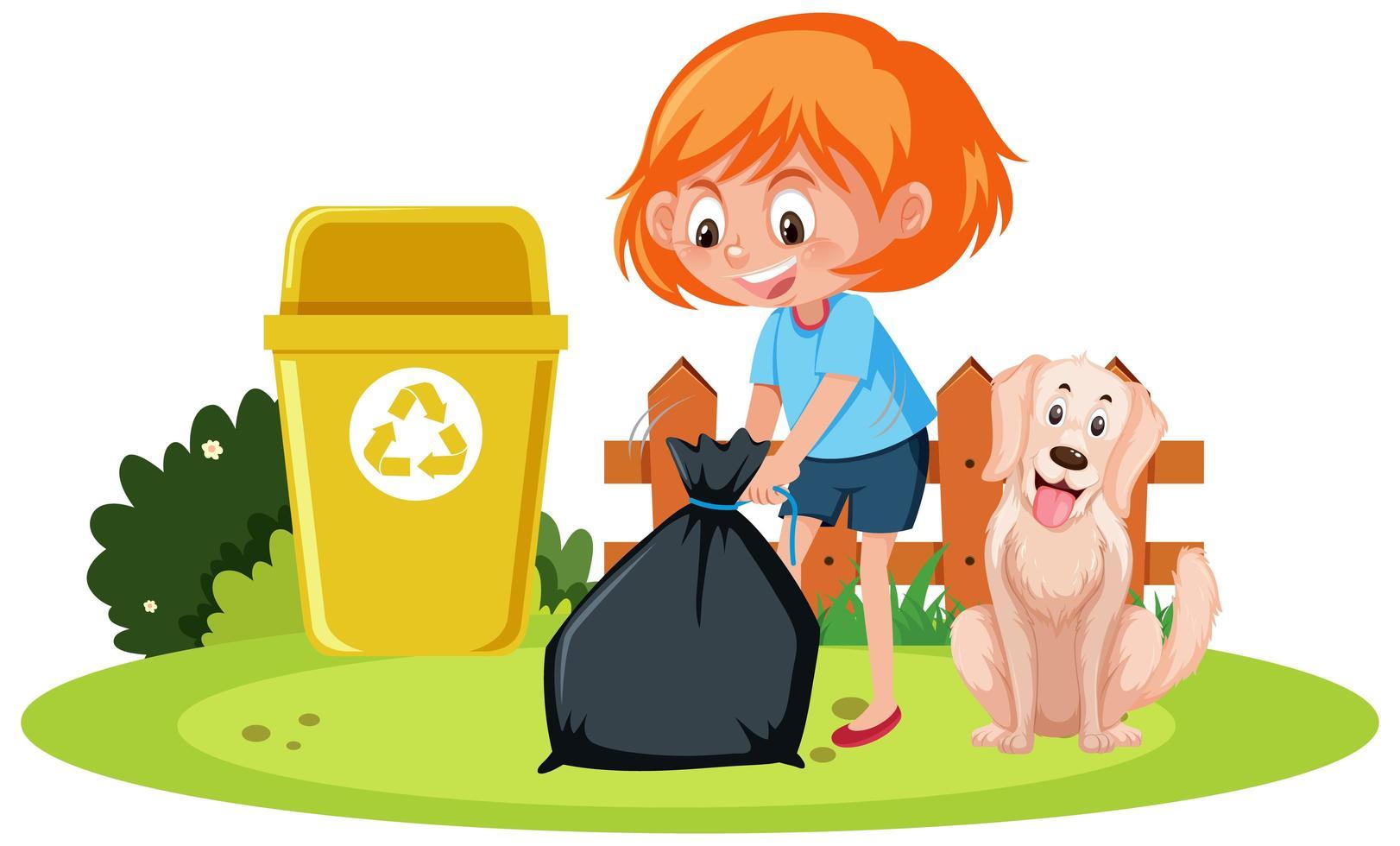 Une fille tenant une poubelle avec un chien sur fond blanc vecteur