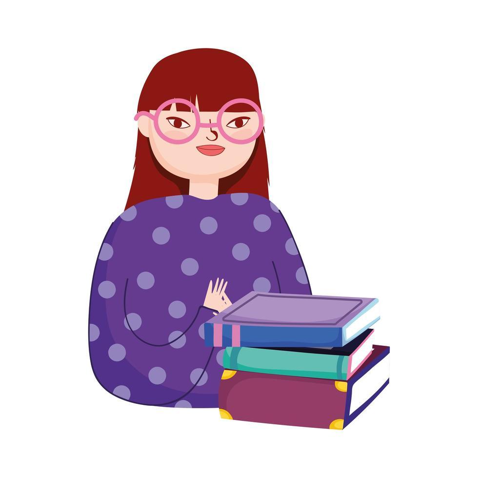 jeune femme, à, pile livres, jour livre vecteur