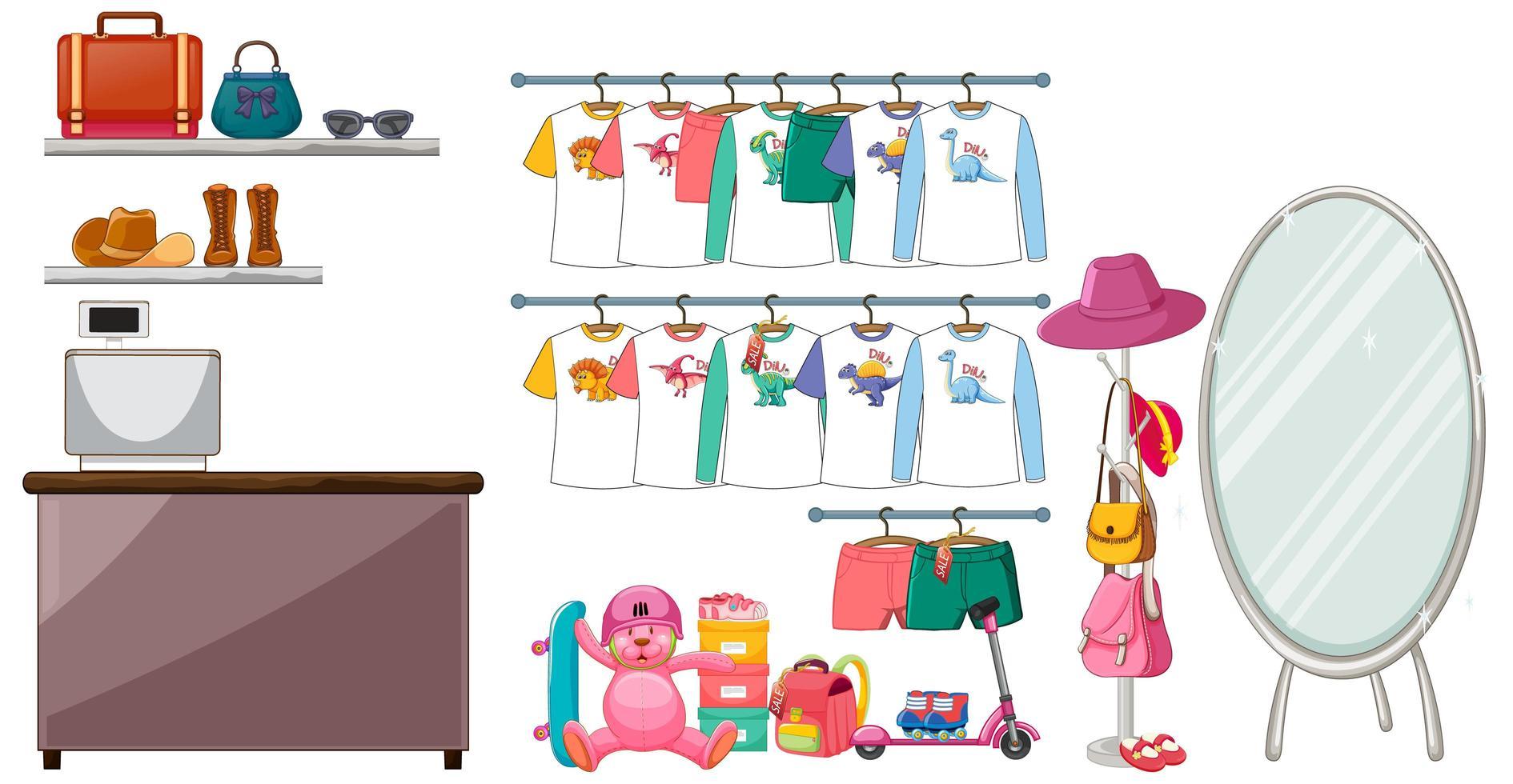 Vêtements pour enfants suspendus sur un portant avec accessoires sur fond blanc vecteur