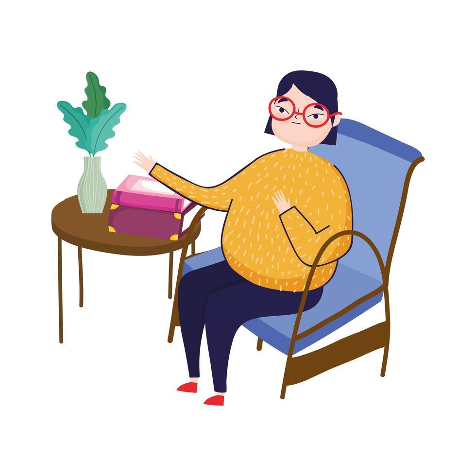 jeune femme, dans, chaise, à, livres table, et, plante, dans, vase, jour livre vecteur