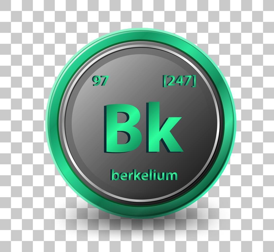 élément chimique berkelium. symbole chimique avec numéro atomique et masse atomique. vecteur