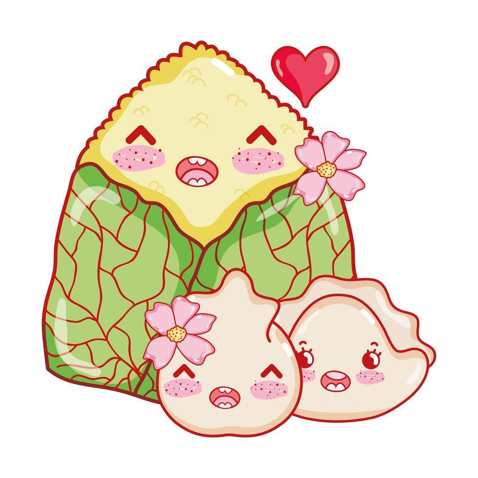 Boulette de gâteau de riz kawaii et biscuit avec dessin animé japonais, sushi et rouleaux de nourriture pour fleurs vecteur