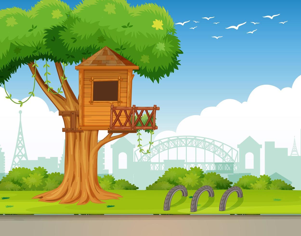 scène extérieure de parc avec cabane dans les arbres vecteur
