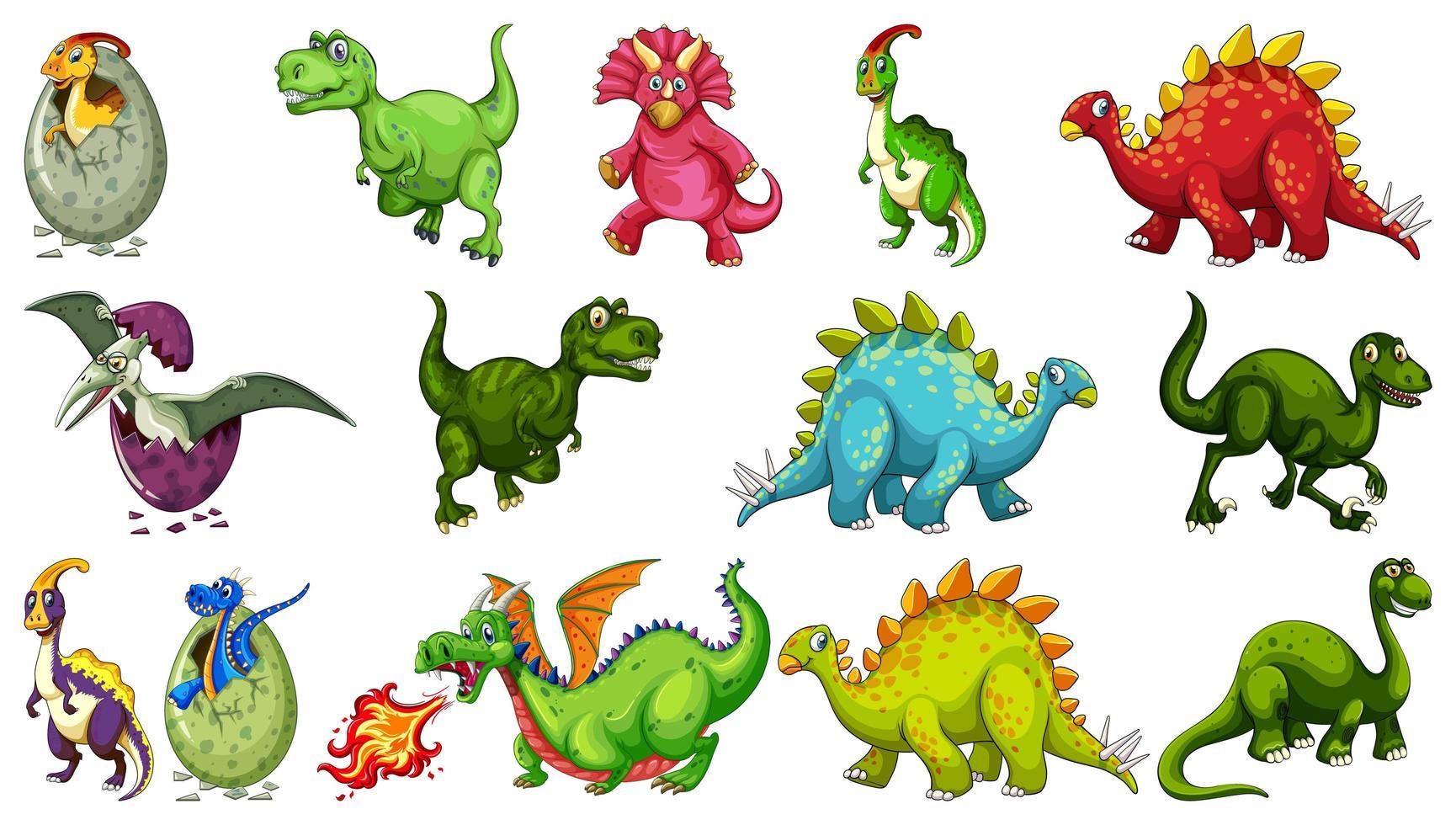 ensemble de personnage de dessin animé de dinosaure différent isolé sur fond blanc vecteur