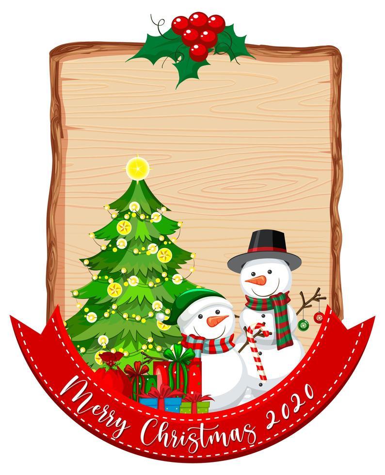 planche de bois vierge avec logo de polices joyeux noël 2020 et bonhomme de neige vecteur
