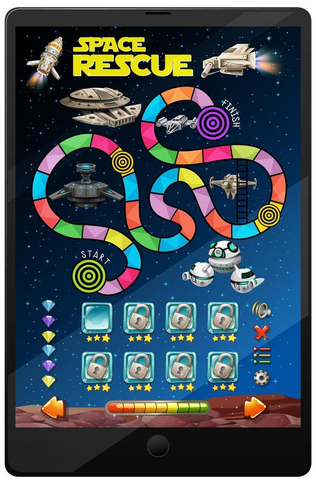 jeu spatial sur écran de tablette vecteur