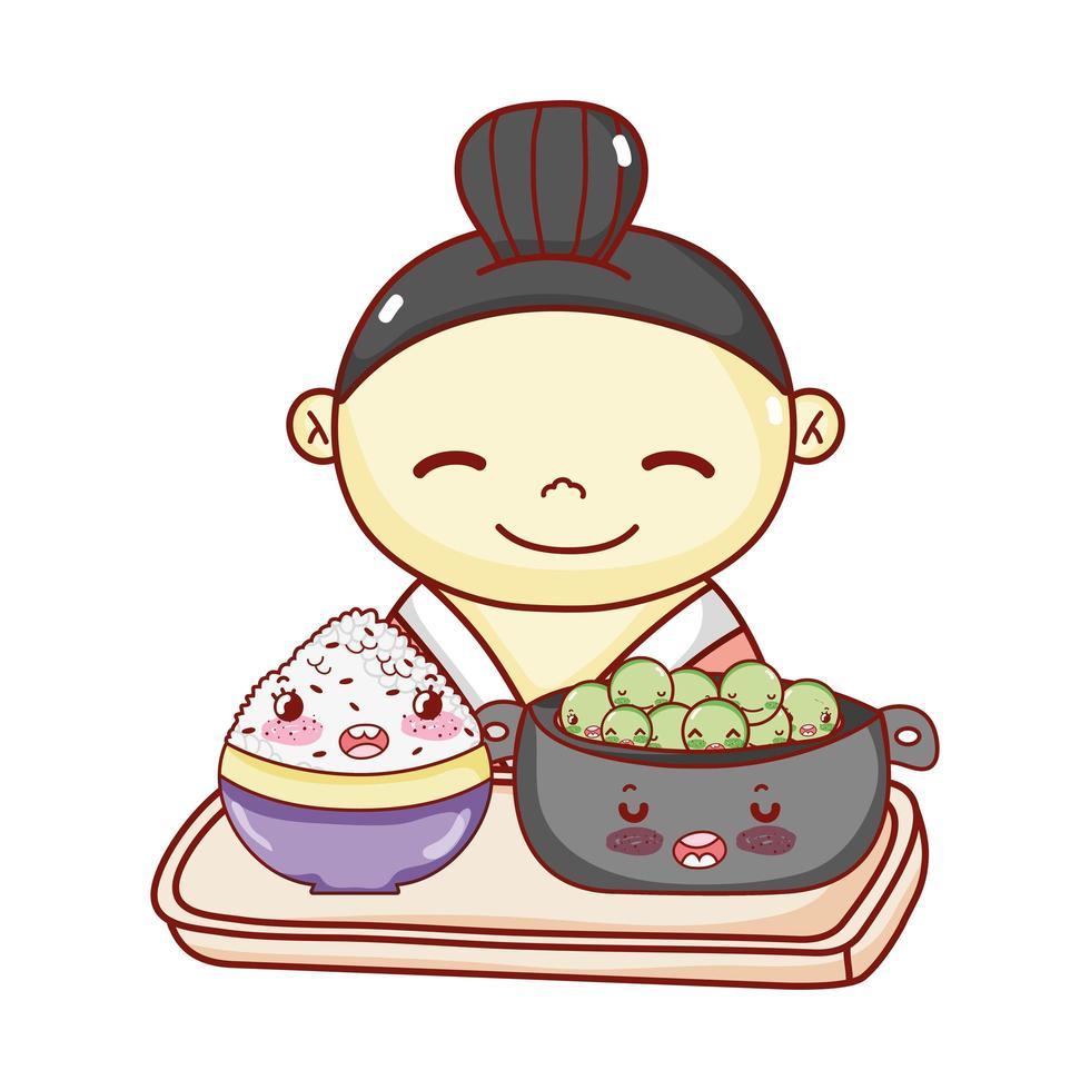 geisha avec bol et riz dans le bac alimentaire dessin animé japonais, sushi et rouleaux vecteur